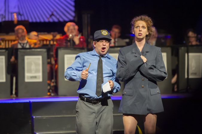 Greg Giovanni and Erin Carney perform a Vaudeville routine. (Jonathan Wilson for WHYY)