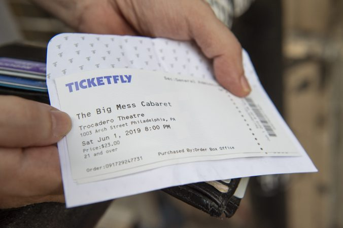 Don Saltsgaver holds his ticket for the final performance. (Jonathan Wilson for WHYY)