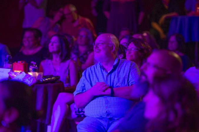 An adoring audience watch the antics of the Big Mess Cabaret. (Jonathan Wilson for WHYY)