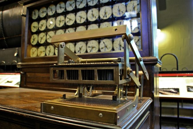 The Franklin Institute collection includes a Hollerith tabulating machine, used to process data from the 1890 census. (Emma Lee/WHYY)