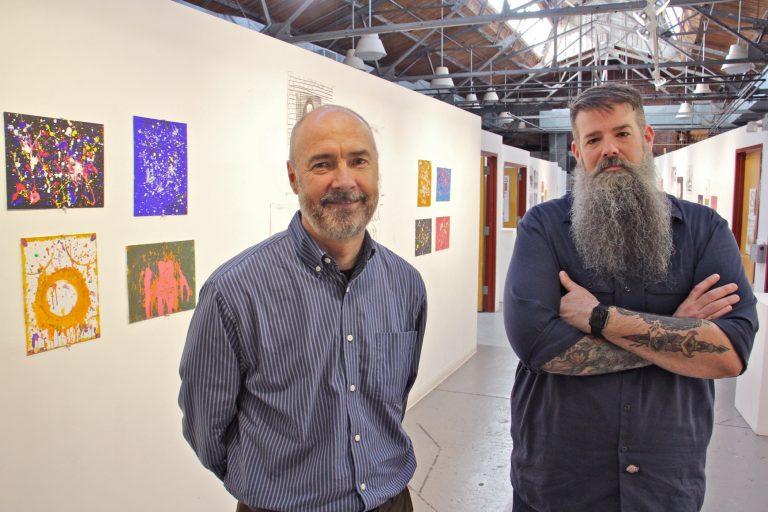 Lauren Otis (left), executive director of Artworks, and Joseph Kuzemka, director of Art All Night in Trenton, are preparing for the arts festival. (Emma Lee/WHYY)