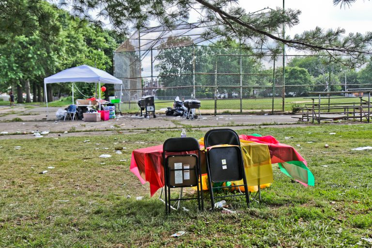 The scene of a shooting in Southwest Philadelphia Sunday night, where the violence interrupted a graduation party near James Finnegan and Paschall playgrounds. (Kimberly Paynter/WHYY)