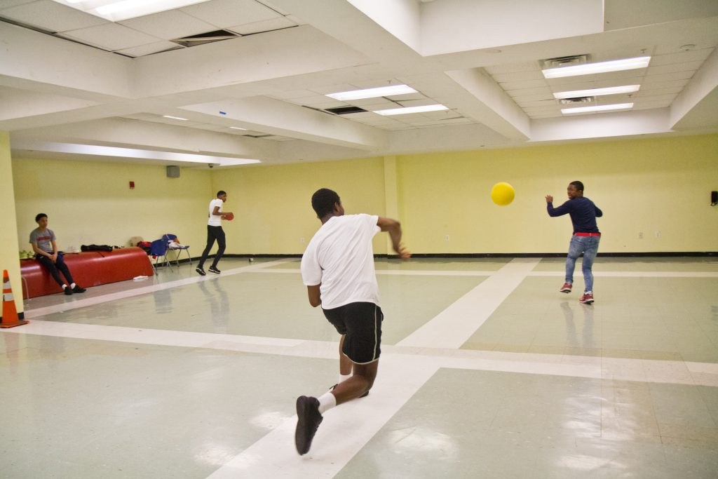 Students at Philadelphia's Constitution High School battle on the dodgeball court.