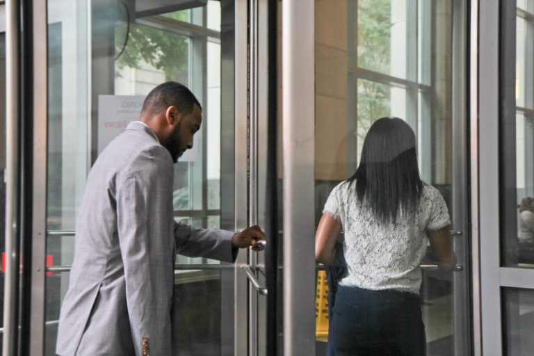 Jovan Weaver, the former principal of Philadelphia's Mastery Charter School at John Wister Elementary in Germantown enters court for a preliminary hearing on Tuesday morning. Weaver is charged with vehicular homicide.  (Kimberly Paynter/WHYY)