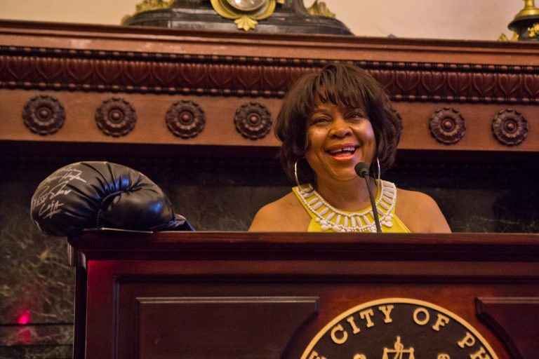 Boxing judge Lynne Carter was honored Wednesday at City Hall for her career in boxing. (Kimberly Paynter/WHYY)