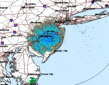 A Doppler radar image from the National Weather Service in Mount Holly, N.J., shows a concentration of heavy rain and thunderstorms. (National Weather Service Doppler Radar Image)