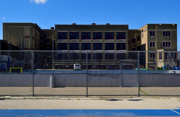 Exterior view shows the current state of Belmont Charter School as maintenance work progresses to ready the facilities in the Belmont neighborhood for the new school year. (Bastiaan Slabbers for WHYY)