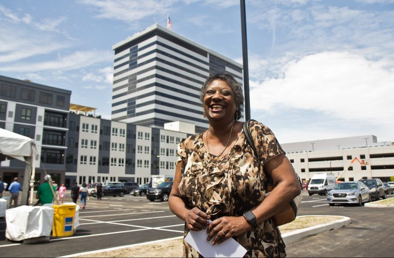 Ethel Halley is one of the first residents to move into 311 Cooper. (Kimberly Paynter/WHYY)