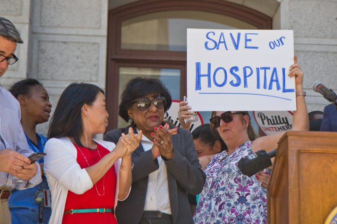 Hahnemann employees, city officials, and unions rally against the closing of the hospital. (Kimberly Paynter/WHYY)