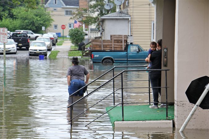 Westville residents who took refuge at Macedonia Baptist Church wait for flood waters to recede. (Emma Lee/WHYY)