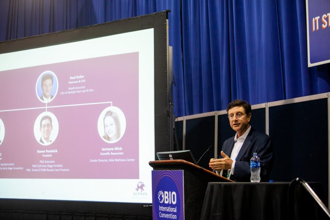 Neal Koller, Chairman and CEO of Alphyn Biologics, makes a presentation on his companies work in providing therapy for infectious diseases Thursday at the BIO International Conference. (Brad Larrison for WHYY)