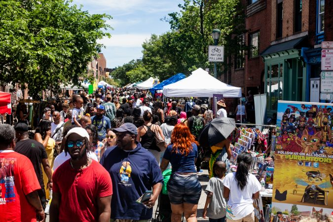 Thousands packed the west end of South Street Sunday afternoon for the annual Odunde Festival. (Brad Larrison for WHYY)