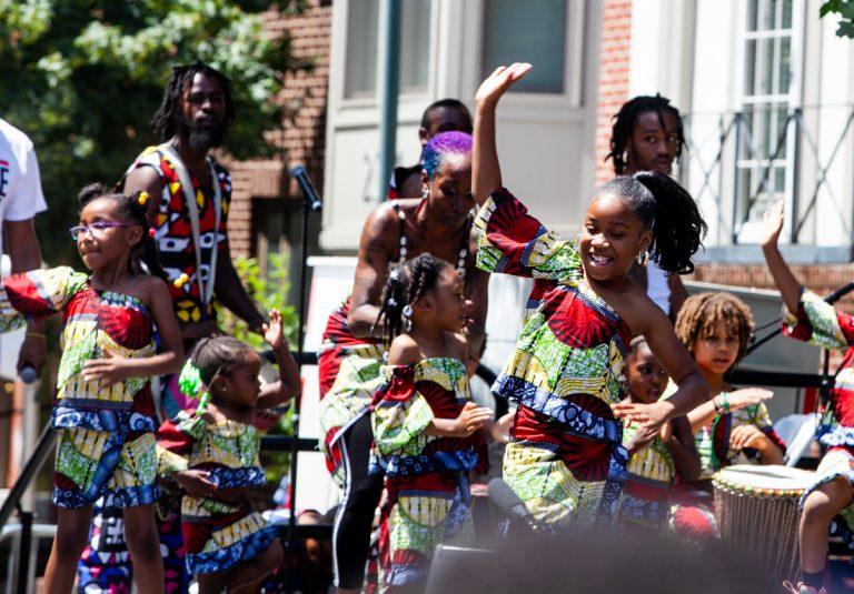 African heritage dancers perform at Philadelphia's Odunde Festival.