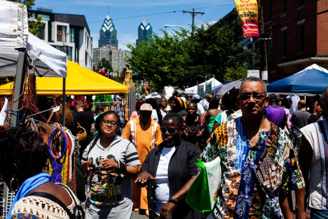 Thousands packed the west end of South Street  and Grays Ferry Avenue Sunday afternoon for the annual Odunde Festival. (Brad Larrison for WHYY)