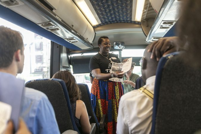 Ronsha Dickerson and Amir Khan lead a tour of Camden, New Jersey, Thursday, June 6, 2019 (Miguel Martinez for WHYY)