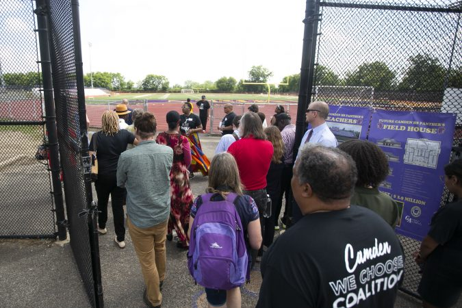 The group visits the Camden High School athletic facilities (Miguel Martinez/WHYY)