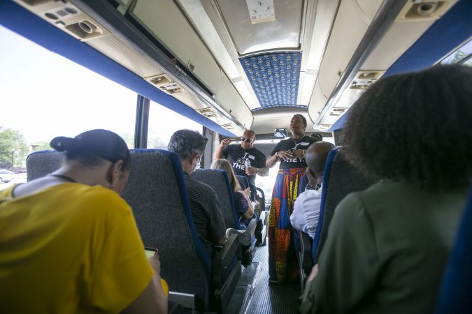 Ronsha Dickerson leads a tour of Camden, New Jersey, Thursday, June 6, 2019 (Miguel Martinez for WHYY)