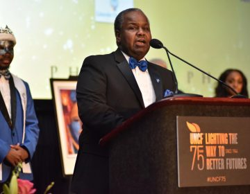Cheyney University President Dr. Aaron Walton speaks at the 2019 Philadelphia UNCF Mayor's Masked Ball. (Ronald Gray/The Philadelphia Tribune)