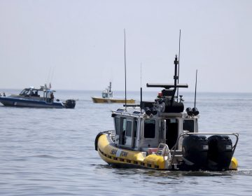 In this photo provided by the United States Coast Guard, a pair of Sea Tow boats joins another vessel off Cape May Point, N.J., in the search for a single engine airplane that crashed into the Atlantic Ocean, Wednesday, May 29, 2019. The aircraft's owner says the male pilot was a regular customer who flew recreationally. (Petty Officer 2nd Class Ryan Keegan/United States Coast Guard via AP)