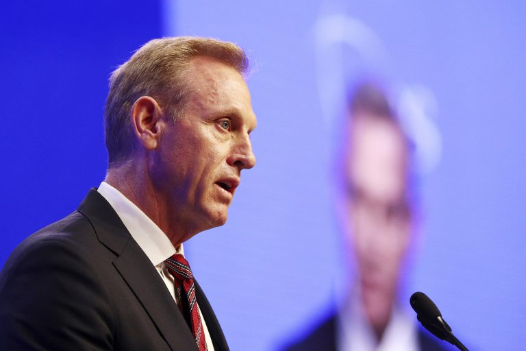 Acting U.S. Secretary of Defense Patrick Shanahan delivers his speech entitled 'The U.S. Vision for Indo-Pacific Security' during the first plenary session of the 18th International Institute for Strategic Studies (IISS) Shangri-la Dialogue, an annual defense and security forum in Asia, in Singapore, Saturday, June 1, 2019. (Yong Teck Lim/AP Photo)