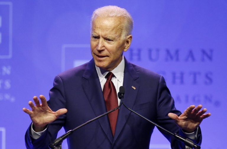 Democratic presidential candidate, former Vice President Joe Biden speaks during the Human Rights Campaign Columbus, Ohio Dinner at Ohio State University Saturday, June 1, 2019. (Paul Vernon/AP Photo)