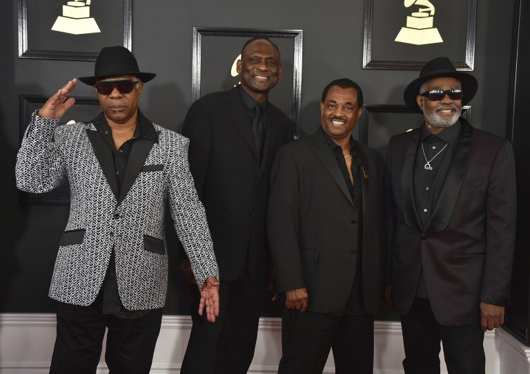 In this Feb. 12, 2017 file photo Dennis D.T. Thomas, (from left), George Brown, Robert Bell, and Ronald Bell, of the musical group Kool & The Gang, arrive at the 59th annual Grammy Awards at the Staples Center, in Los Angeles. Philadelphia Mayor Jim Kenney announced Wednesday, June 5, 2019, that the group will receive the 2019 Marian Anderson Award this fall. (Photo by Jordan Strauss/Invision/AP, File)