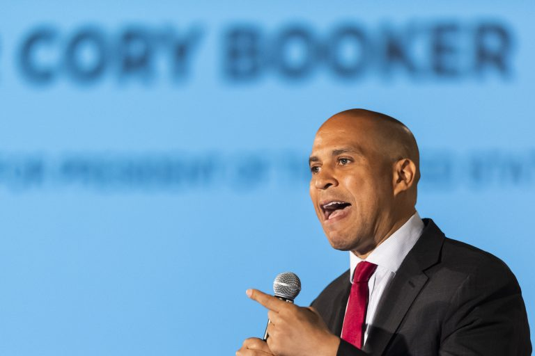 Democratic presidential candidate Sen. Cory Booker, of New Jersey, speaks during the African American Leadership Council Summit, Thursday, June 6, 2019, in Atlanta. (John Amis/AP Photo)
