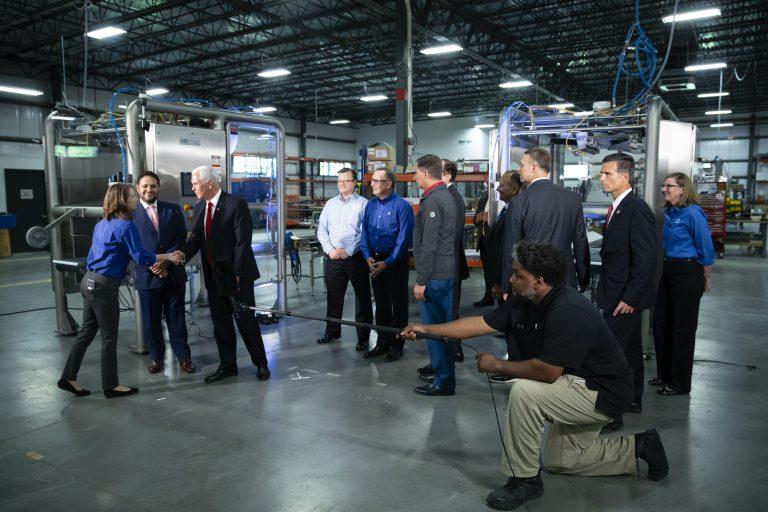 Vice President Mike Pence tours JLS Automation in York, Pa., Thursday, June 6, 2019. (Matt Rourke/AP Photo)