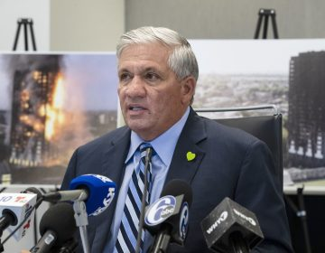 Attorney Robert Mongeluzzi speaks with members of the media during a news conference in Philadelphia, Tuesday, June 11, 2019. A lawsuit filed in the United States says faulty building materials helped spread a fire at London's Grenfell Tower in 2017. The lawsuit was filed in a state court in Philadelphia on Tuesday.  (Matt Rourke/AP Photo)