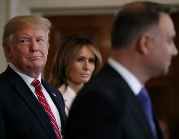 President Donald Trump and first lady Melania Trump attend a Polish-American reception with Polish President Andrzej Duda in the East Room of the White House, Wednesday June 12, 2019. (Jacquelyn Martin/AP Photo)