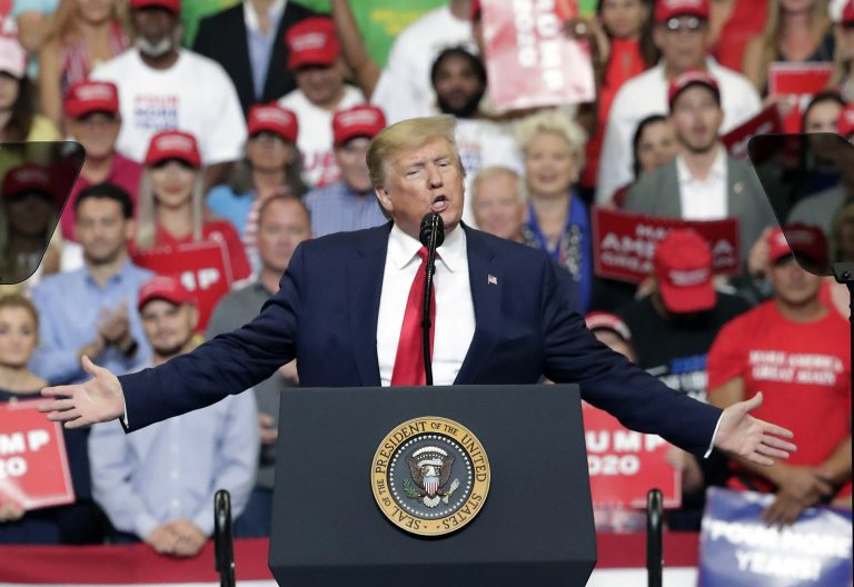 President Donald Trump speaks to supporters where he formally announced his 2020 re-election bid Tuesday, June 18, 2019, in Orlando, Fla. (John Raoux/AP Photo)