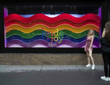 In this Wednesday, June 19, 2019, photo, a visitor to Herald Square takes a photo with the Pride and Joy window display at the Macy's flagship store in New York. For Pride month, retailers across the country are selling goods and services celebrating LGBTQ culture. Macy's flagship store is adorned with rainbow-colored Pride tribute windows, set in the same space as its famous Christmas displays. (Mary Altaffer/AP Photo)