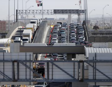 FILE - In this March 29, 2019, file photo, cars and trucks line up to enter the U.S. from Mexico at a border crossing in El Paso, Texas. Authorities in far South Texas say U.S. Border Patrol agents have discovered the bodies of four people, including three children, who appeared to have died from heat exposure after crossing the Rio Grande. Hidalgo County sheriff's Sgt. Frank Medrano said the bodies of a woman in her early 20s, a toddler and two infants were found Sunday, June, 23, 2019, in or near Anzalduas Park, which borders the river in the city of Mission. (AP Photo/Gerald Herbert, File)