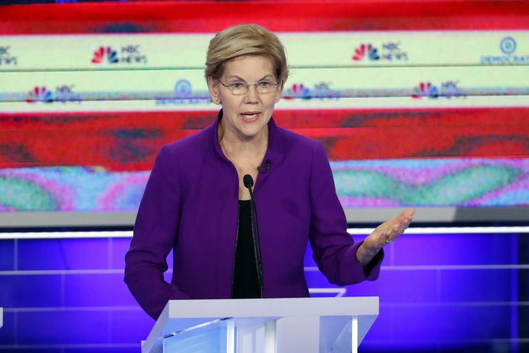 Democratic presidential candidate Sen. Elizabeth Warren, D-Mass., speaks during a Democratic primary debate hosted by NBC News at the Adrienne Arsht Center for the Performing Art, Wednesday, June 26, 2019, in Miami. (Wilfredo Lee/AP Photo)