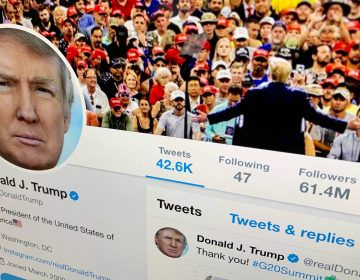 The U.S. President Donald Trump's Twitter feed is shown on a computer screen on Thursday, June 27, 2019, in New York. President Donald Trump's next tweet might come with a warning label. Starting Thursday tweets that Twitter deems in the public interest, but which violate the service's rules, will be obscured by a warning explaining the violation. Users will have to tap through the warning to see the underlying message. (Jenny Kane/AP Photo)