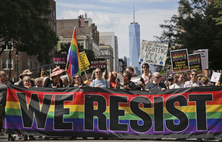 Marchers participate in the Queer Liberation March in New York, Sunday, June 30, 2019.  (Seth Wenig/AP Photo)
