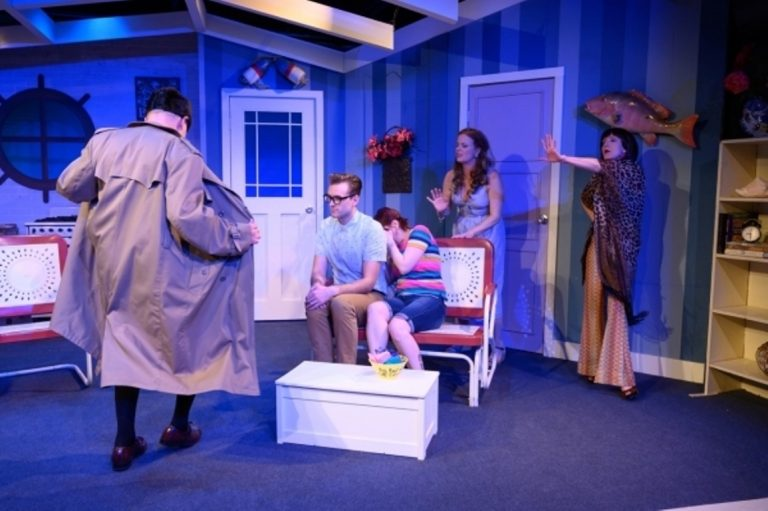 In The Idiopathic Ridiculopathy Consortium production of 'Betty's Summer Vacation,' (from left) Bill Rahill, Anthony Crosby, Amanda Schoonover, Kirsten Quinn and Tina Brock. (Photo courtesy of Johanna Austin/austinart.org)