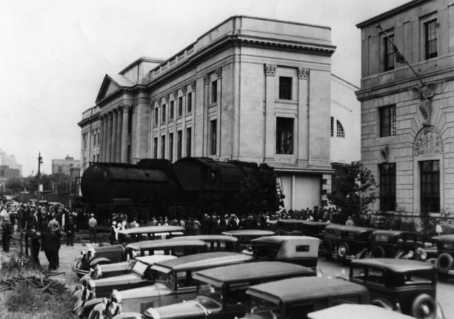 The Baldwin locomotive donated by Baldwin Locomotive Works President, Samuel Vauclain was rolled into place in the Franklin Institute in 1933 and has remained there ever since. (Courtesy of the Franklin Institute)