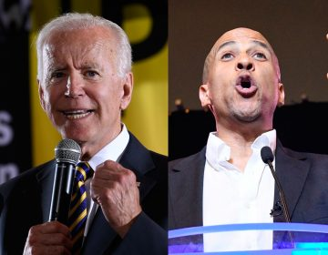 Democratic presidential candidate, former Vice President Joe Biden, (left), and Democratic presidential candidate New Jersey Sen. Cory Booker (Susan Walsh and Meg Kinnard/AP Photos)