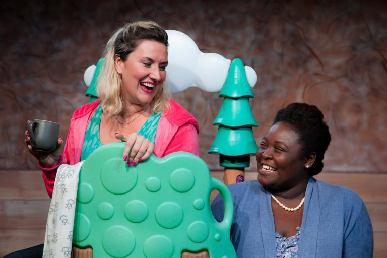 Brandi Burgess (left) as Lina and Angelica Jackson as Jessie, two new moms who meet regularly for coffee in
