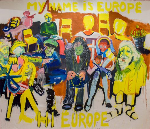 My Name Is Europe, Hi Europe / Mi nombre es Europa, hola Europa , 2014  David Bade (born 1970)   Oil and acrylic on canvas, 96 × 120 inches (Courtesy of the artist. © David Bade.)