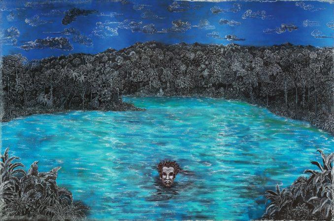 Lost at Sea / Perdido en el mar, 2014.   Edouard Duval - Carrié (born 1954)  Mixed media on aluminum, 96 × 144 inches  (Courtesy of the artist. © Edouard Duval - Carrié.)