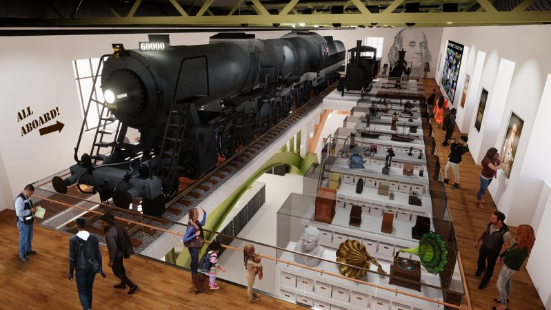 A redesign of the Franklin Institute's Train Factory exhibit will create new curatorial space and provide a glimpse into the curatorial process. (Courtesy of the Smith Group for the Franklin Institute)