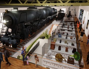 A redesign of the Franklin Institute's Train Factory exhibit will create new curatorial space and provide a glimpse into the curatorial process. (Rendering courtesy of the Smith Group for the Franklin Institute)