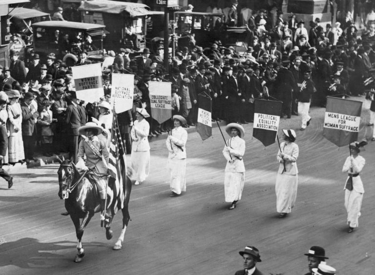3rd May 1913:  Grand Marshal Inez Milholland Boissevain (1886 - 1916) leads a parade of 30,000 representives of the various Women's Suffrage associations through New York City. (Photo by Paul Thompson/Topical Press Agency/Getty Images)
