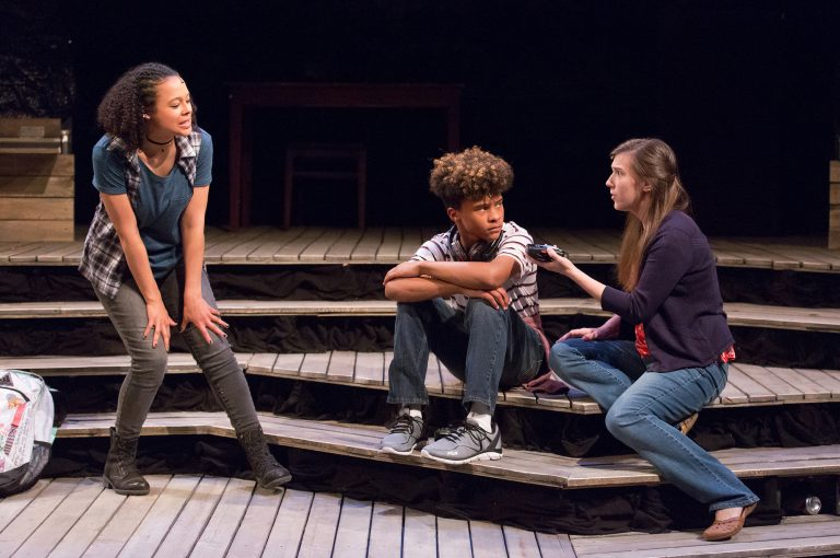 Terran Scott, Mehki Williams, and Grace Tarves in Lantern Theater Company's world premiere production of 'Minors' by Kittson O'Neill and Robert Kaplowitz. (Courtesy of Mark Garvin)