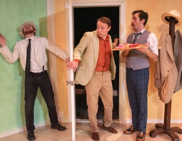 In Quintessence Theatre Group's production of 'One Man, Two Guvnors,' (from left) Desmond Confoy, Jered McLenigan and Sean Close. (Courtesy of Linda Johnson)