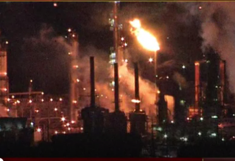 Crews battled a fire at the Philadelphia Energy Solutions refinery on Monday night (NBC10)