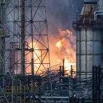 Flames and smoke emerge from the Philadelphia Energy Solutions Refining Complex in Philadelphia, Friday, June 21, 2019. (Matt Rourke/AP Photo)