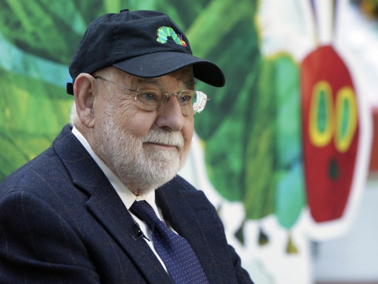 Eric Carle and his most famous creation, during a 2009 appearance on the Today show. (Richard Drew/AP Photo)